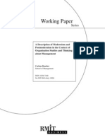 P9 a Description of Modernism and Post Modernism in the Context of Organisation Studies and Thinking About Management
