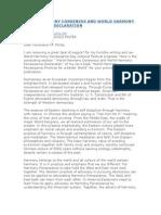 World Harmony Consensus and World Harmony Renaissance Declaration