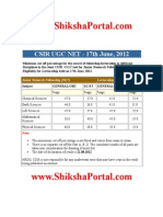 Cut–off CSIR UGC NET - June 2012 (www.ShikshaPortal.com)
