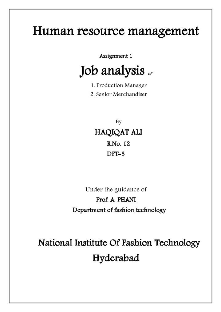 Job Analysis Of Production Manager And Merchandiser | Human