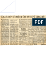Kashmir - Setting the Record Straight