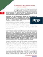 Manifiesto Día Internacional de las Personas Mayores 2012