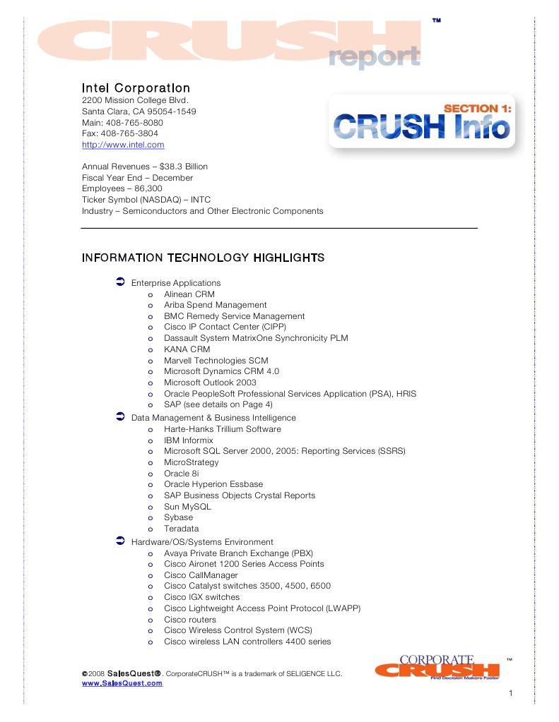 Intel Corporation Crush Report Intel Contacts Intel Computer