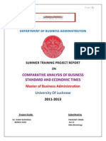 Compatative Analysis of Business Standard & Economic Times