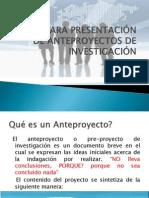 GUÍA PARA PRESENTACIÓN DE ANTEPROYECTOS DE INVESTIGACIÓN1