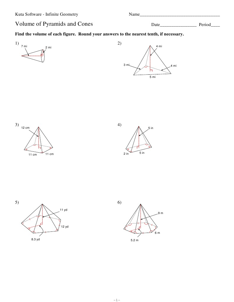 10Volume of Pyramids and Cones – Volume of Pyramids Worksheet