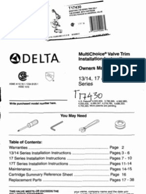 Delta Shower Valve Installation Manual 17, 17T