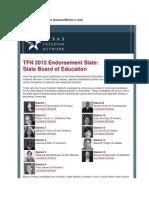 TFN Announces SBOE Election Endorsements