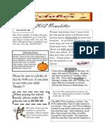 Oct. 2012 Newsletter