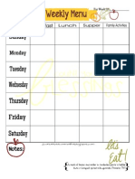 Weekly Menu Plan Page for Fall
