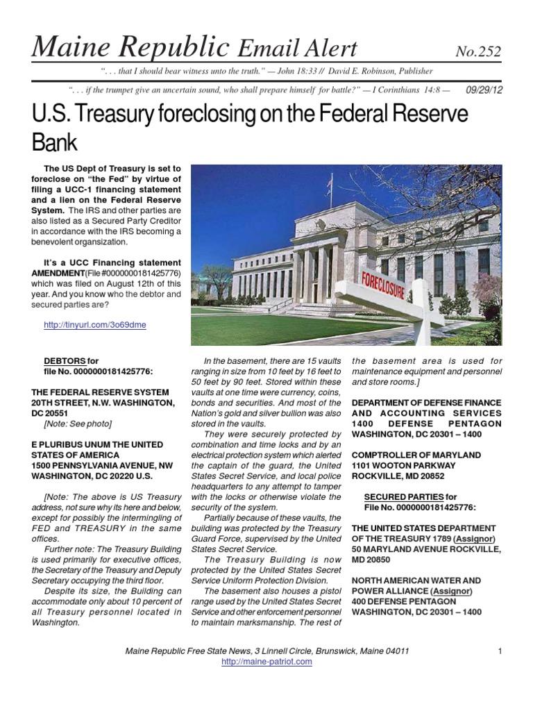 federal reserve bank vs us treasury