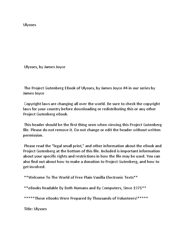 Ulysses project gutenberg e text fandeluxe Gallery