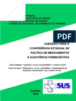 Cartilha Assistencia Farmaceutica Sus - 2002