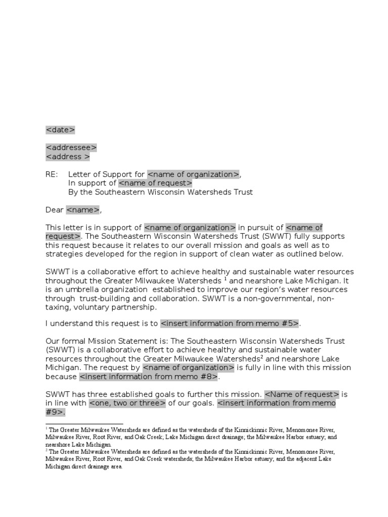 SWWT Letter of Support Template | Milwaukee | Drainage Basin