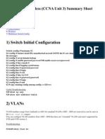 Switching & Wireless (CCNA Unit 3) Summary Sheetv2