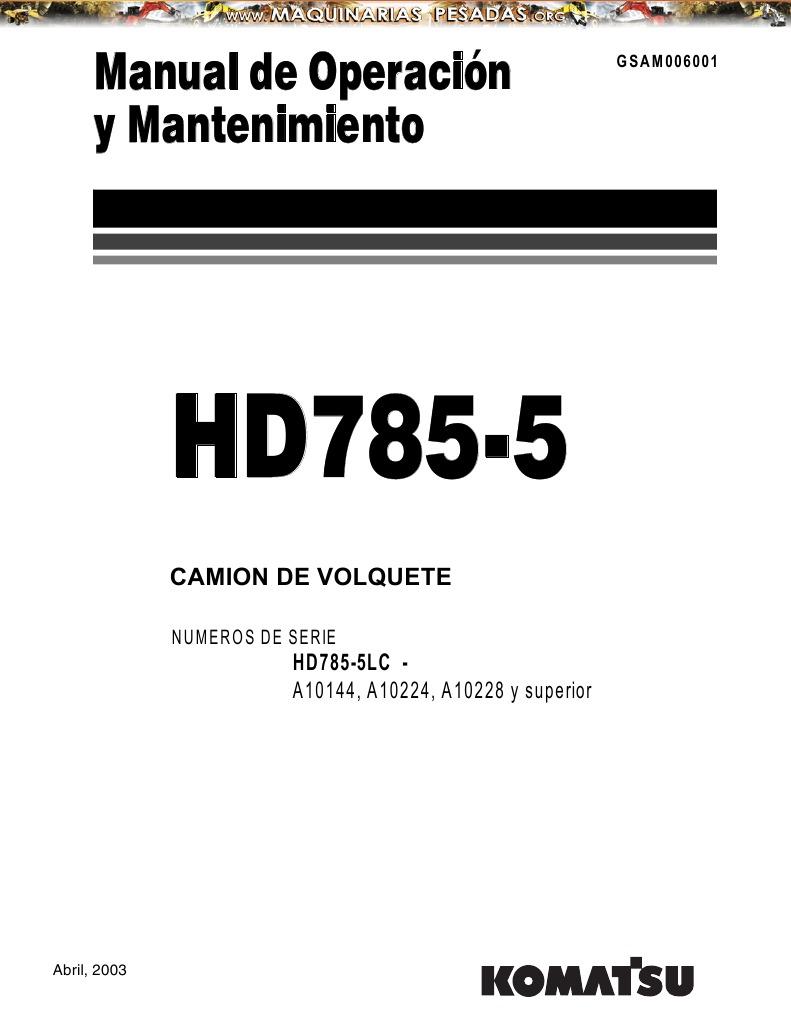 Manual Operacion Mantenimiento Camion Minero Hd 785 5