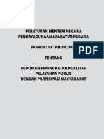 PERMENPAN2009_013 Kualitas Layanan Publik
