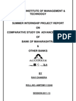 Comparative Study on Advance Products of Bank of Maharashtra