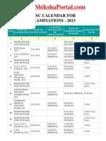 UPSC Exam Calender 2013 (www.ShikshaPortal.com)