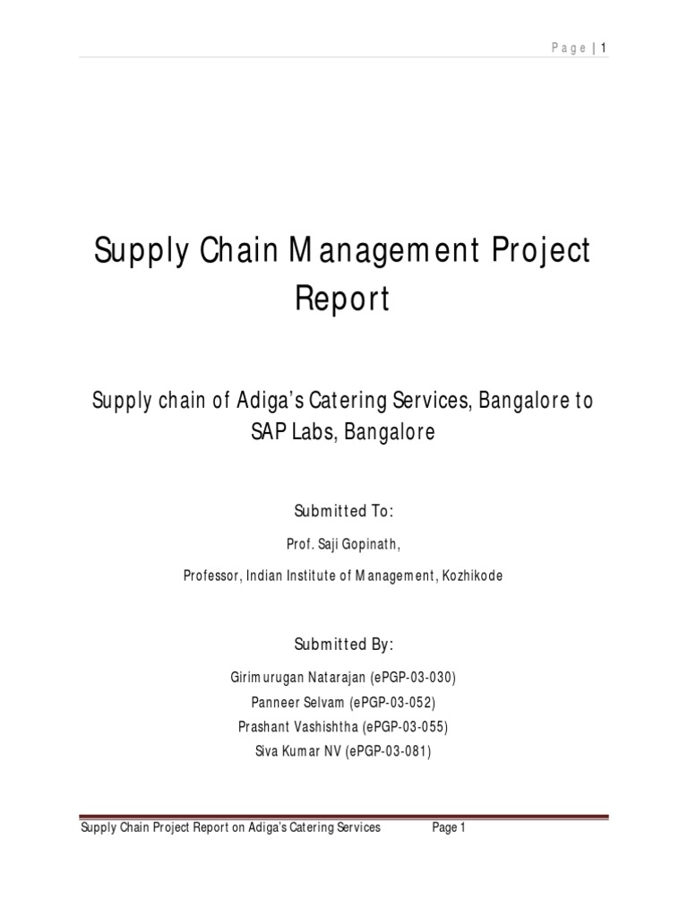 Supply Chain Management Project on Adigas Catering Services | Supply Chain  Management | Supply Chain
