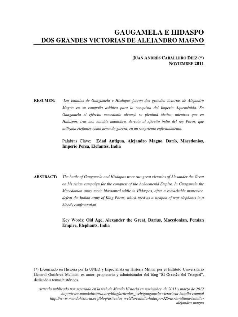 GAUGAMELA E HIDASPO: DOS GRANDES VICTORIAS DE ALEJANDRO MAGNO
