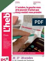 L'hebdo des socialistes - n°665 - Le 1er octobre, la gauche vous rend le pouvoir d'achat que Sarkozy voulait vous prendre
