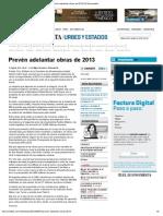 27-08-09 El Economista - Prevén adelantar obras de 2013
