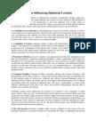Factors Influencing Industrial Location
