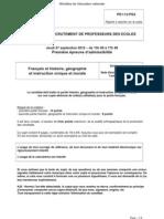CRPE 2013 - Epreuve de français, histoire et géographie - Académie 2