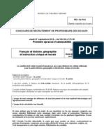 CRPE 2013 - Epreuves de français, histoire et géographie - Académie 1