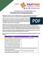 North Carolina - News Release - FastMed - Fall Flu Shots 2012