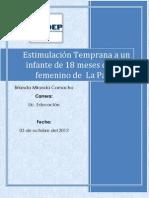 Estimulación Temprana a un niño de 18 meses de sexo femenino de  La Paz B