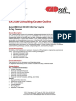 CADsoft Consulting Course Outline - AutoCAD Civil 3D 2013 for Surveyors