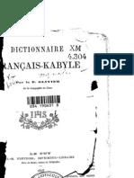 Dictionnaire français-kabyle par le père Olivier 1878