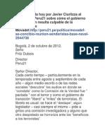 """Carta enviada hoy por Javier Ciurlizza al director de """"Peru 21"""" sobre cómo el gobierno de transición resulta culpable de la existencia de Movadef"""