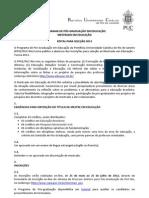 Edital PUC Mestrado 2012