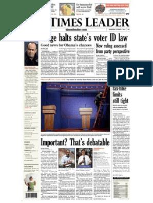 Times Leader 10 03 2012 Fox News Mitt Romney