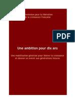 Commission pour la libération de la croissance française -  Rapport 2010 - Une Ambition Pour Dix Ans