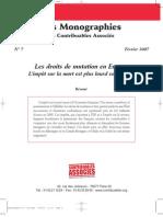 Les Droits de Mutation en  Europe - Contribuables Associés - Février 2007