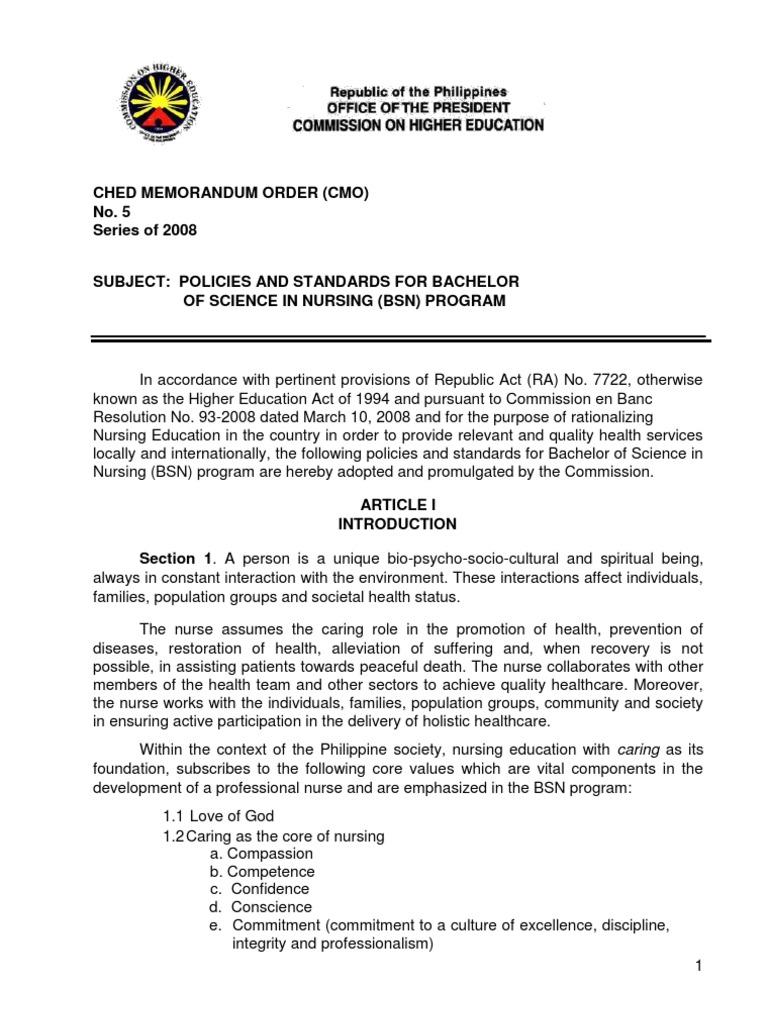 3394906 Ched Memorandum Order 5 2008   Nursing   Competence