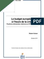 Le budget européen à l'heure de la crise