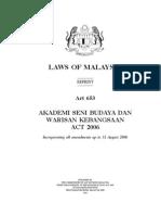 Akademi Seni Budaya Dan Warisan Kebangsaan Act 2006 _Act 653