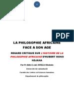 Abbé Mbabula - La philosofie africaine face a son age