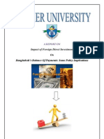 Foreign Direct Investment  and Balance of payments of Bangladesh