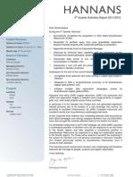 Hannans Quarterly Report 2012   Q4