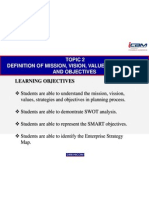 2.0 Definition of Mission, Vision, Values, Strategies and Objectives