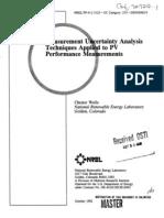 Measurement Uncertainty Analysis Techniques Applied 2pv Performance Measaurements