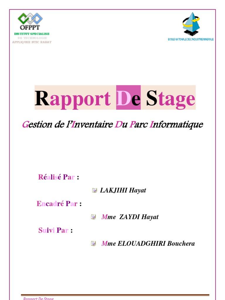 Rapport inventaire du parc informatique lakjihi hayat - Page de garde rapport de stage open office ...