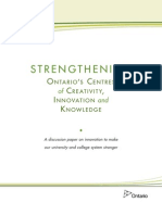 Ontario - Strengthening Ontario's Centres of Creativity, Innovation and Knowledge - June 27, 2012