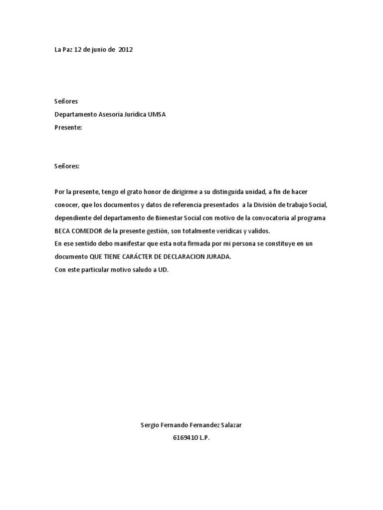 Carta Beca Comedor